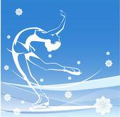 Winter sport. Ladies figure skating. Ice show. — Stock Vector