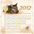 Vintage calendar 2012 with cat — Stock Vector