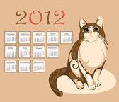 Calendar 2012 with tabby cat — Stock Vector