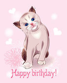 Happy birthday greeting card with little kitten on the pink b — Stock Vector