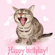 Happy birthday card. Funny cat sings greeting song. Pink backg — Stock Vector