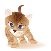 Hand drawn portrait of ginger tabby kitten. Watercolor style — Stock Vector