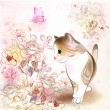Retro birthday greeting card with little tabby kitten ,flowers — ストックベクタ