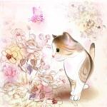 cartão do aniversário retrô com gatinho malhado, flores — Vetorial Stock