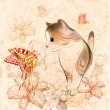 Birthday card with little kitten, flowers and butterflies — 图库矢量图片