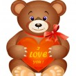 Teddy bear with red heart - Stock Vector