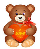 Teddy bear with red heart — Vector de stock