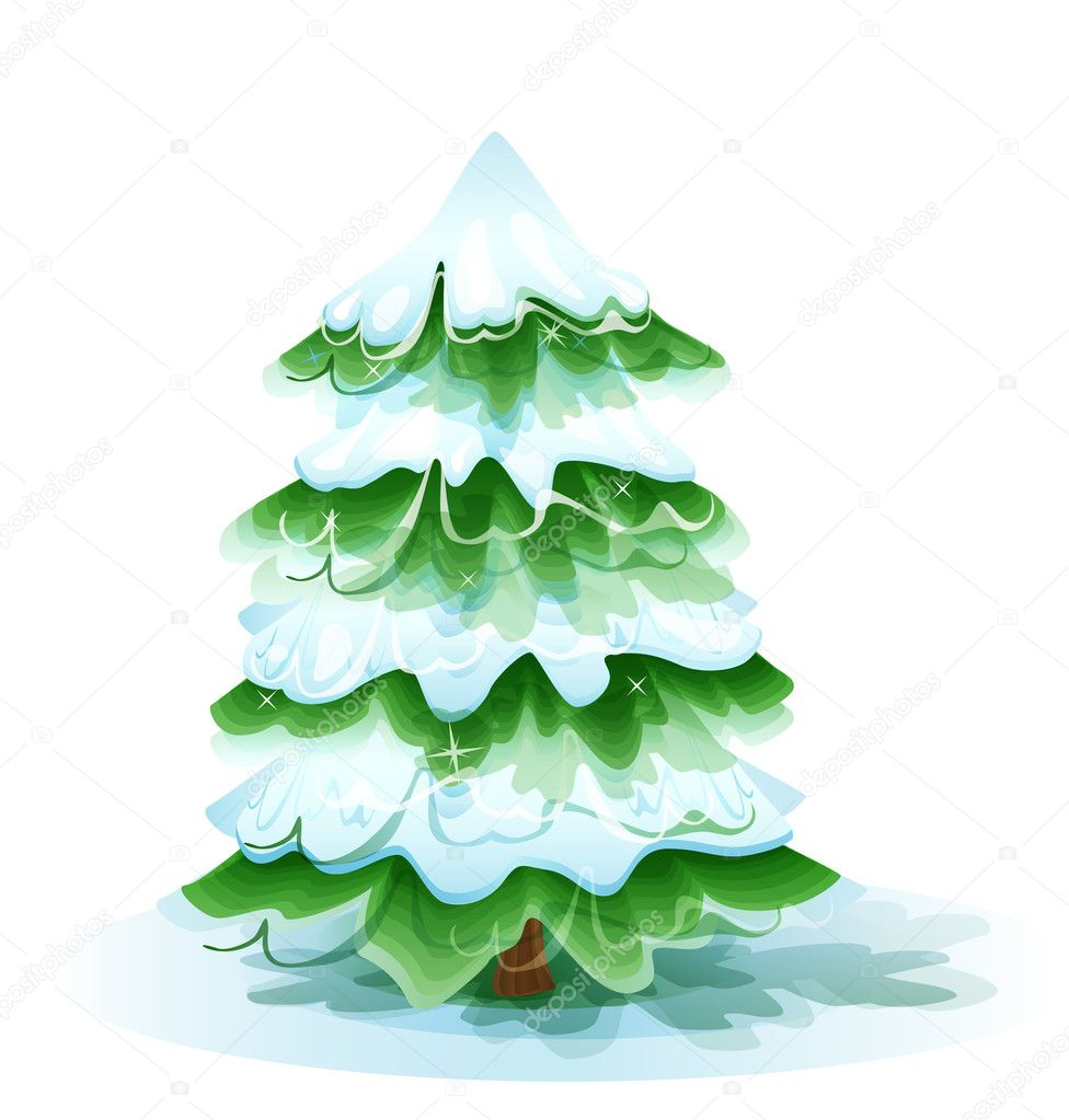 Christmas tree covered with deep snow — Stok Vektör #7544903