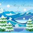 Christmas mountain landscape with tree covered with deep snow — Vector de stock
