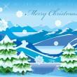 paesaggio di montagna di Natale con albero coperto di neve profonda — Vettoriale Stock