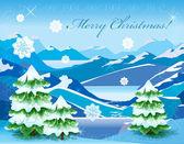 Jul berg landskap med träd täckta med djup snö — Stockvektor