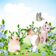 Royalty-Free Stock Vector Image: Happy  little kittens and butterfly play on the meadow