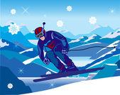 Sciatore digradanti dalla collina — Vettoriale Stock