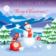 Royalty-Free Stock Vektorgrafik: Cute  smiling snowman   with red christmas sack