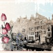 Vintage illustration of Amsterdam street. Watercolor style. — Stock Vector