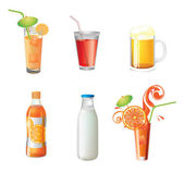 Illustration of different beverages — Stock Vector