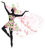 Silhouette of beautiful dancing woman — Stock Vector