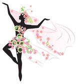 Silhouette of beautiful dancing woman — Stock Vector