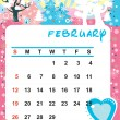 Decorative Frame for calendar - February — Stock Vector