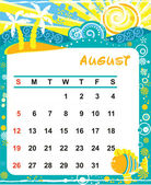 Marco decorativo para calendario - agosto — Vector de stock