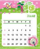 Decorative Frame for calendar - June — Vector de stock