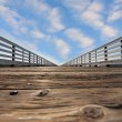 Wooden pier with a handrail on Pacific coast - Zdjęcie stockowe