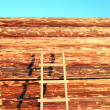 Wall of the new wooden building — Stock Photo