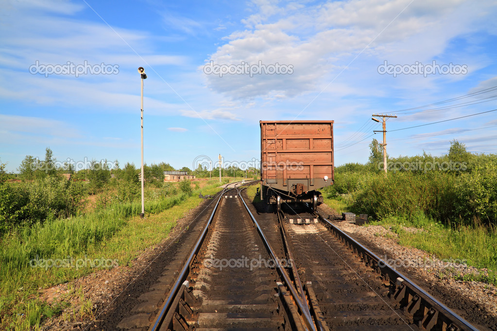 Cargo railway coach — Stock Photo #6838407