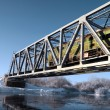 Railway bridge through small river — Stock Photo #6882342