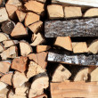 Stock Photo: Firewood near building