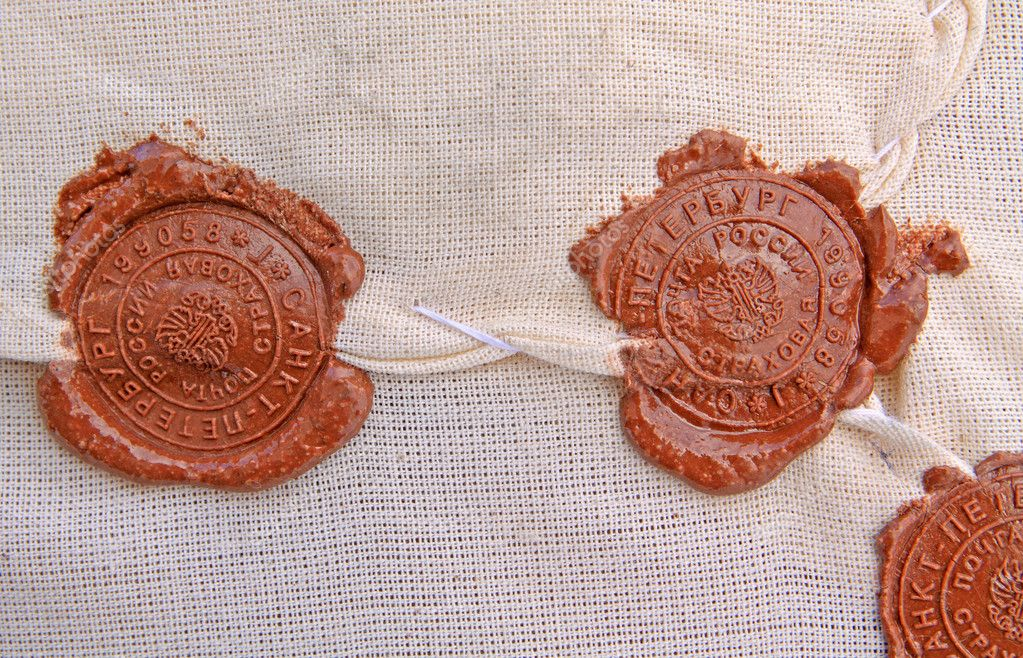 Of sealing wax seal on old parcel — Foto Stock #6889431