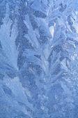 Blue ice on winter window — Stock Photo