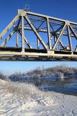 Railway bridge through small river — Stock Photo