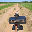 Old bicycle on rural road — Stock Photo