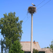 Crane on pole amongst villages - Stock Photo