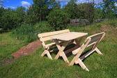 Tuin meubilair in de buurt van oude vijver — Stockfoto