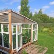 Wooden hothouse in summer garden — Stock Photo