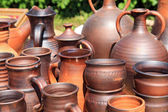 Clay pitchers on rural market — Stock Photo