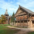 Aging wooden chapel in village — Stock Photo