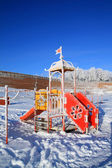 Town beach in snow — Stock Photo