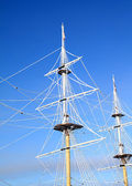 Ship masts in ice — Stock Photo