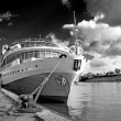 Motor ship on pier — Stock Photo