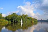 Sailboat on river — Stock Photo