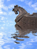 Head of the horse on ship — Stock Photo