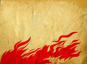 Red fire on grunge background — Stock Photo