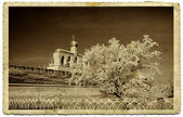 Ancient fortress on old photography — Stock Photo