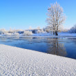Crystalline ice on coast river — Stock Photo