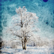 Tree in snow ongrunge background — Stock Photo #7946797