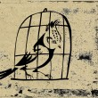 Bird in hutch on grunge background — Stock Photo