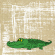 Drawing crocodile on old paper - Stock Photo